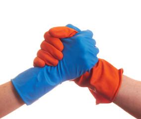 Handshake in the gloves