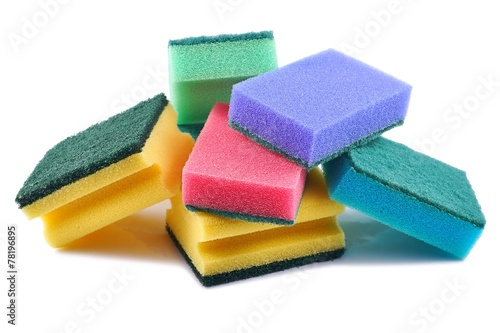 canvas print picture Cleaning equipment, sponge cleaner on a white background