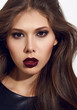 Beautiful sexy woman color makeup bordo lips dark eyes cosmetics
