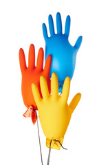 Color gloves balloons