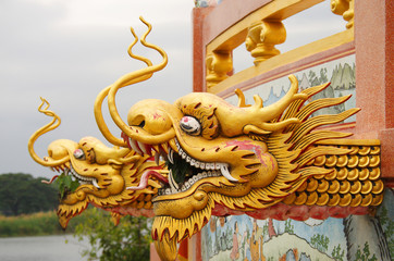 Dragon decoration of the Wat Thavorn Wararam in Kanchanaburi