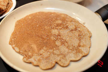 Pan with flaxseed meal pancake