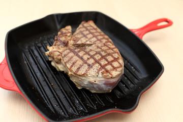 Steak on cast-iron grill pan