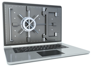 Data security concept. Laptop and combination Lock. 3D image iso