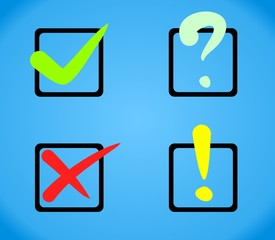 Check Boxes Yes No Question Exclamation Mark