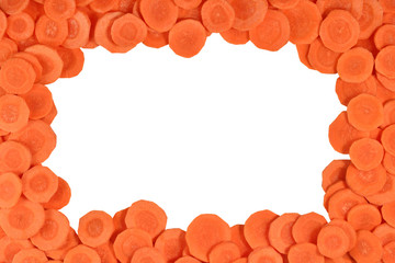 Frame of carrot slices on a white