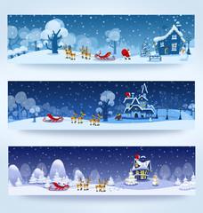 Christmas three banners