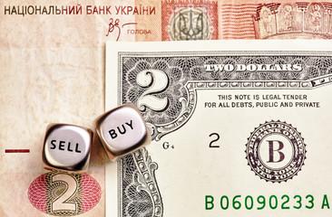 Dices cubes, USD, UAH banknotes