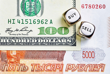 Dices cubes, RUB, USD  banknotes