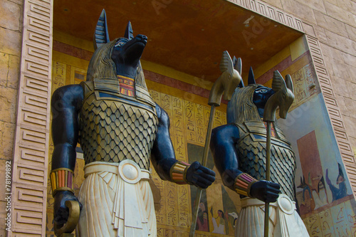 Foto op Aluminium Singapore Egyptian ancient art Anubis Sculpture Figurine Statue