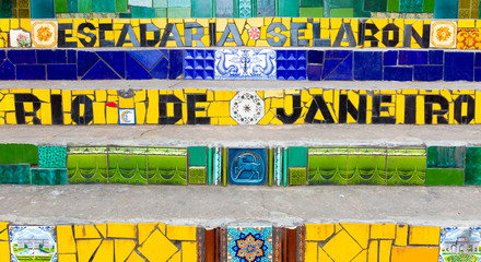 Colorful mosaic tile stairway in Lapa, Rio de Janeiro