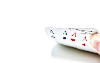 Four Aces Playing Cards on White Background