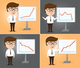Businessman presentation growth and down chart board set
