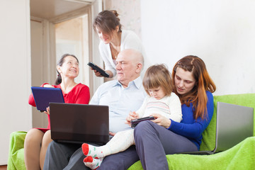 family of with portable computers
