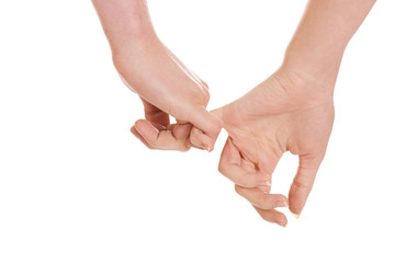 Female and male hands together.