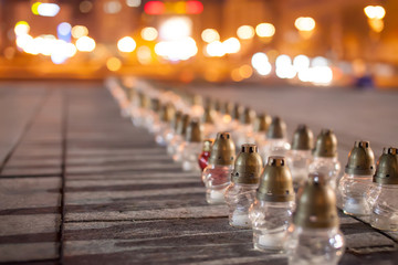 Yahrzeit candles at the Independence Square in Kiev. Ukraine
