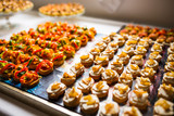 Festive decorated canapes for event