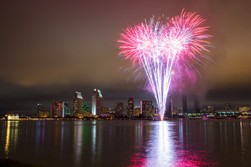4th of July fireworks over San Diego