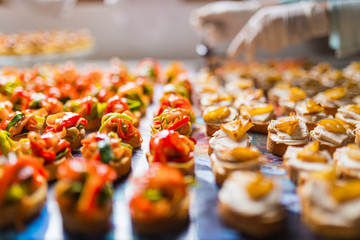 Closeup of a plate with canapes