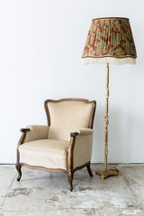 brown Chair with lamp