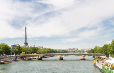 Eiffel Tower river seine Panorama