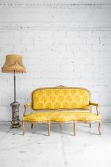 Yellow Retro sofa with lamp