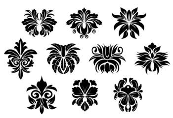 Vintage black floral design elements in damask style