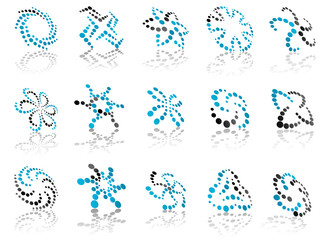 Abstract dotted icons and symbols