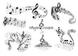 Abstract music staves with notes