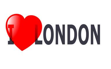 London - inscription on a white background. Illustration.