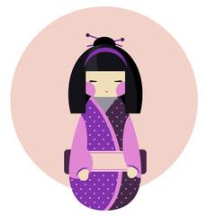Kokeshi doll in polka dot kimono