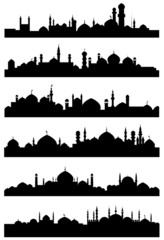 Muslim or arabic cityscape black silhouettes