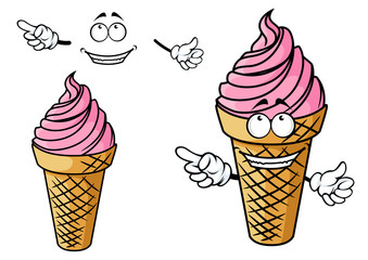 Cartooned strawberry pink ice cream character