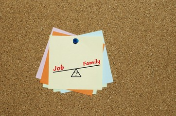 Job or family dilemma written on a reminder note