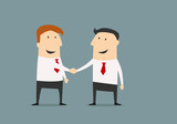 Fototapety Cartoon businessmen shaking hands and closing deal