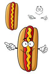 Cartooned smiling hot dog for fast food design
