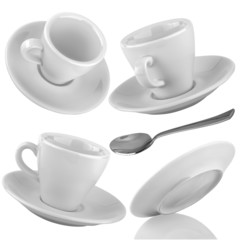 Set of cups of coffee with a silver spoon on a isolated backgrou