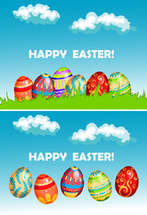 Happy easter cards with colorful decorated eggs