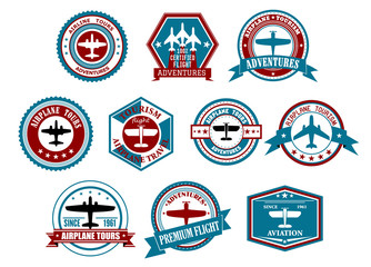 Aviation labels or badges in retro style