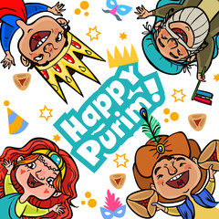 Funny Happy Purim greeting card. Vector illustration