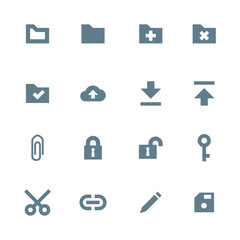 vector dark gray silhouette various file actions icons set