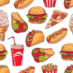 background with various fast food