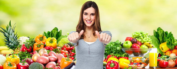 Woman with fruits and vegetables.