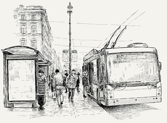 trolleybus stop in the big city