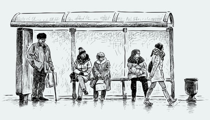 people on a bus stop