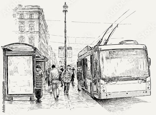 trolleybus stop in the big city - 78203681