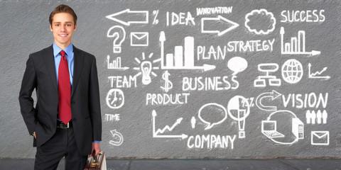 Businessman over scheme background