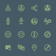 vector outline various social network actions icons set