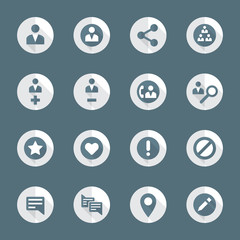 vector flat design round social network actions icons