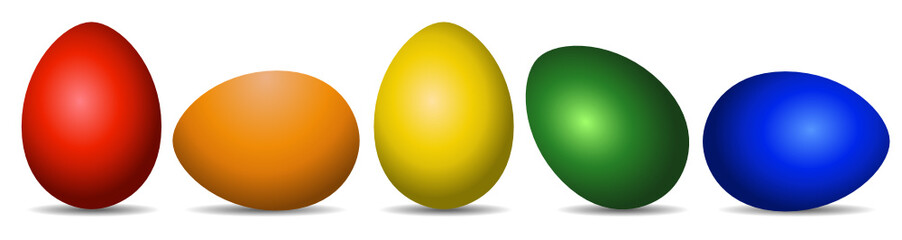 Easter Eggs red orange yellow green blue